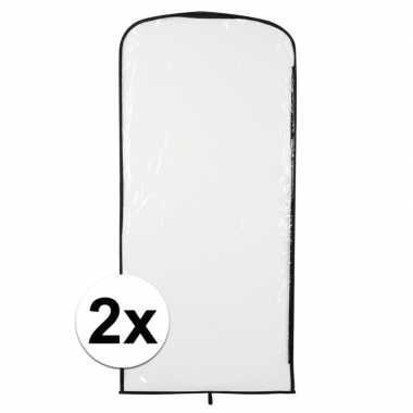 2x carnavascarnavalspak hoes transparant 95 x 42 cm