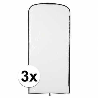 3x carnavascarnavalspak hoes transparant 95 x 42 cm