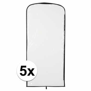 5x carnavascarnavalspak hoes transparant 95 x 42 cm