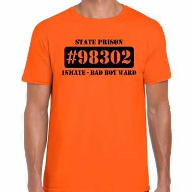 Carnavalspak bad boy ward boeven / gevangenen shirt oranje heren