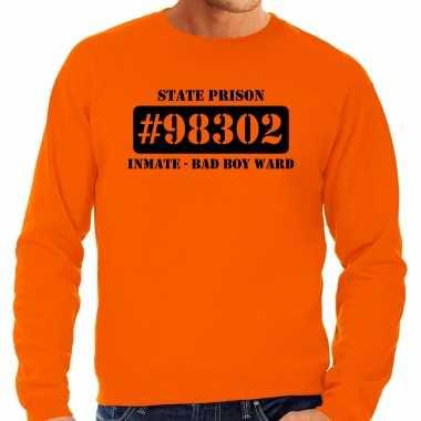 Carnavalspak bad boy ward boeven / gevangenen sweater oranje heren