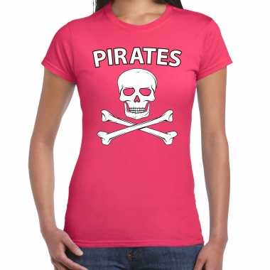 Carnavalspak fout piraten shirt roze dames