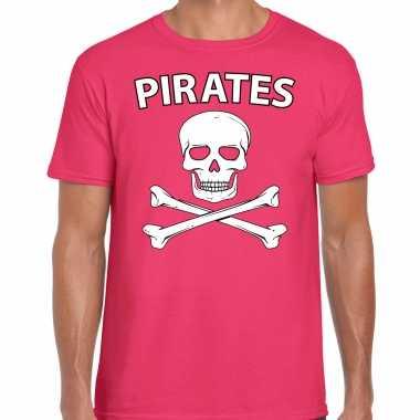 Carnavalspak fout piraten shirt roze heren