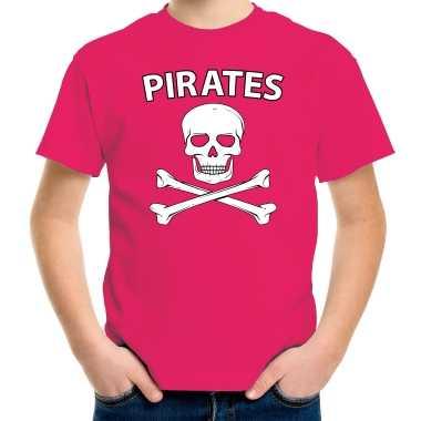 Carnavalspak fout piraten shirt roze kids