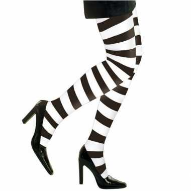 Carnavalspak/halloween wit/zwarte heksen panties/maillots verkleedacc