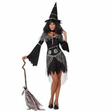 Carnavalspak heksenjurk zwart voor dames