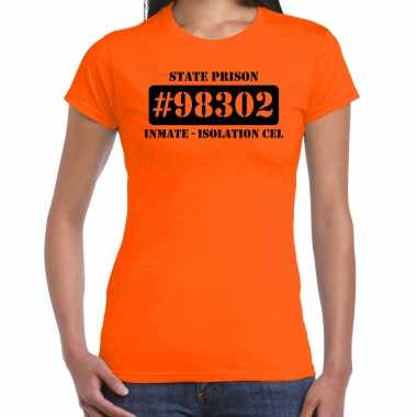 Carnavalspak isolation cel boeven / gevangenen shirt oranje dames