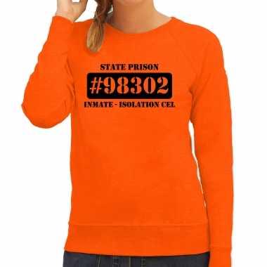 Carnavalspak isolation cel boeven / gevangenen sweater oranje dames