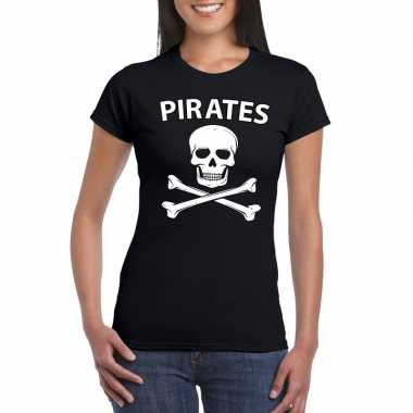 Carnavalspak piraten shirt zwart dames