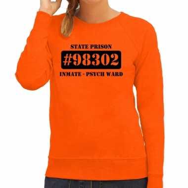 Carnavalspak psych ward boeven / gevangenen sweater oranje dames