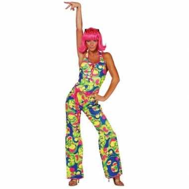 Gekleurde dames seventies carnavalspak