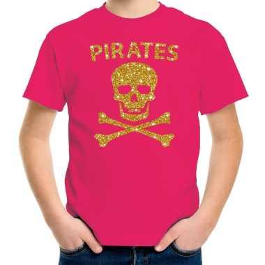 Gouden glitter carnavalspak piraten shirt roze kids
