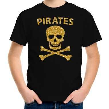 Gouden glitter carnavalspak piraten shirt zwart kids