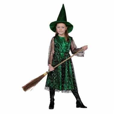 Groene heksencarnavalspak kinderen