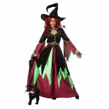 Heksen carnavalspak rood/groen vrouwen