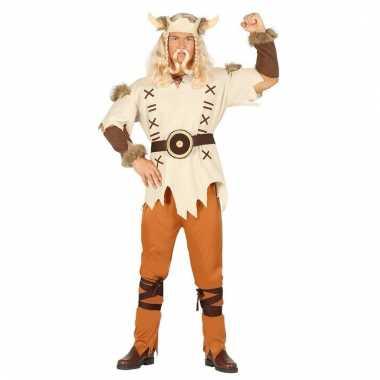 Heren vikings carnavalspak bruin 6 delig