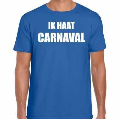 Ik haat carnaval verkleed t shirt / carnavalspak blauw voor heren