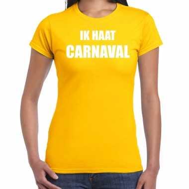 Ik haat carnaval verkleed t shirt / carnavalspak geel voor dames