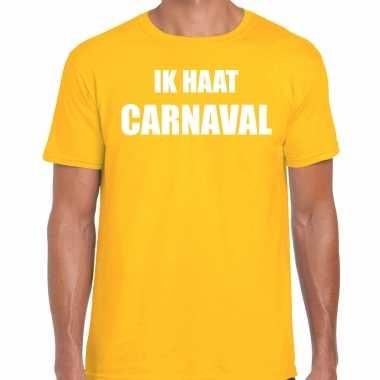 Ik haat carnaval verkleed t shirt / carnavalspak geel voor heren