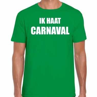 Ik haat carnaval verkleed t shirt / carnavalspak groen voor heren