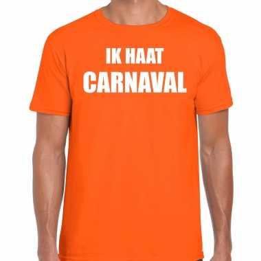 Ik haat carnaval verkleed t shirt / carnavalspak oranje voor heren