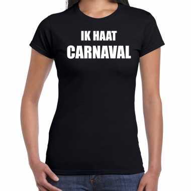 Ik haat carnaval verkleed t shirt / carnavalspak zwart voor dames