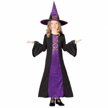 Paarse heksencarnavalspak kinderen