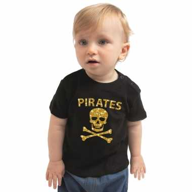 Piraten carnavalspak shirt goud glitter zwart voor peuters