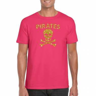 Piraten shirt / foute party verkleed carnavalspak / carnavalspak goud glitter roze heren
