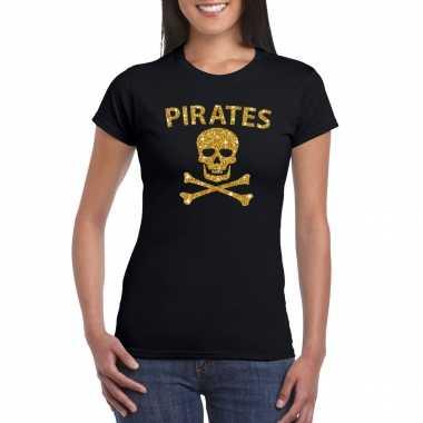 Piraten shirt / foute party verkleed carnavalspak / carnavalspak goud glitter zwart dames