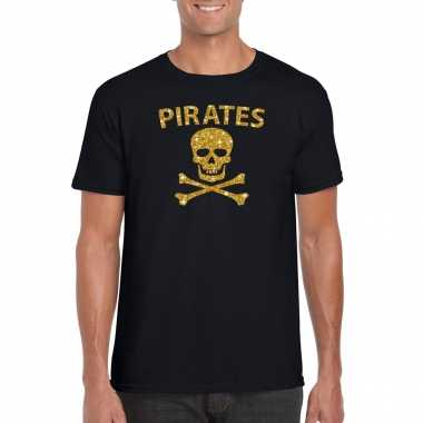Piraten shirt / foute party verkleed carnavalspak / carnavalspak goud glitter zwart heren