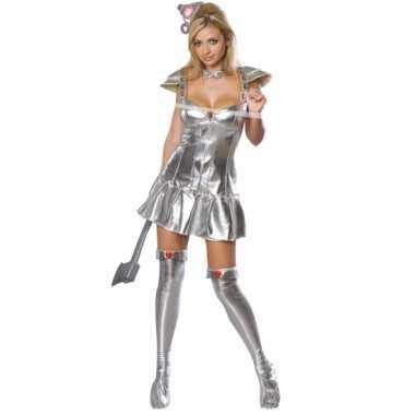 Zilveren tinnen carnavalspak vrouw