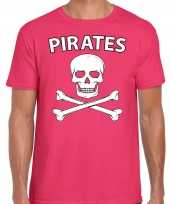 Carnavalspak fout piraten shirt roze heren